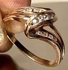 10K PINK ROSE GOLD RING with CHANNEL SET DIAMONDS