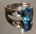 10K WHITE GOLD BLUE TOPAZ RING with DIAMONDS - Size 8
