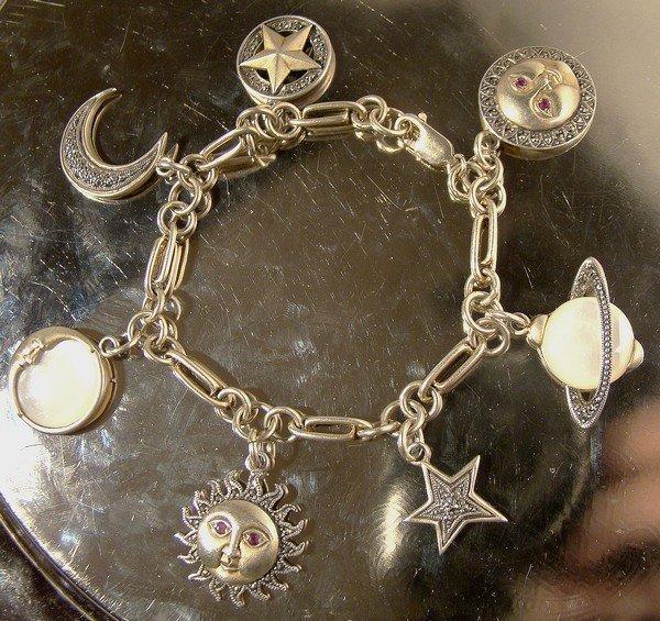 Sterling Silver PLANET MOON STARS MOP RUBIES CHARM BRACELET
