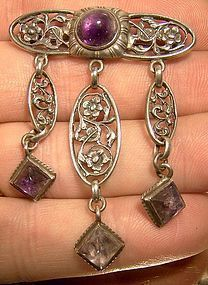 GUSTAV HAUBER German ARTS & CRAFTS SILVER AMETHYST PIN