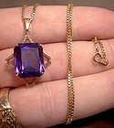10K SYNTHETIC ALEXANDRITE PENDANT & CHAIN NECKLACE 1960
