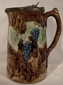 MAJOLICA GRAPE & VINE PITCHER with PEWTER LID 1880s 19thC