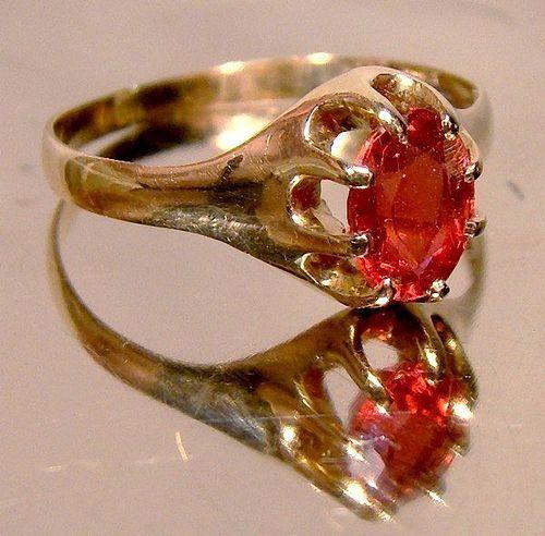 Victorian 10K RHODOLITE GARNET ROSE GOLD RING c1890 - Size 6