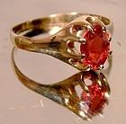 Victorian 10K RHODOLITE GARNET ROSE GOLD RING c1890