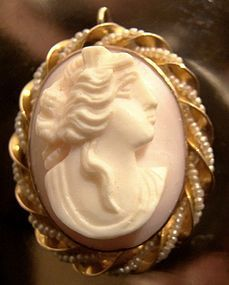 Fine 10K CORAL CAMEO with SEED PEARLS PENDANT PIN c1900