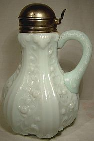 19thC. PRESSED MILK GLASS SYRUP JUG