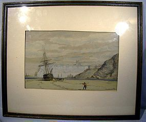 WILLIAM ARMSTRONG (Canada) WATERCOLOUR PAINTING 1892 Ship Watercolor