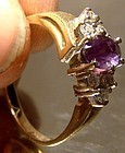14K Amethyst with 6 Diamonds Demi-cluster Ring 1960s 1970 Size 8