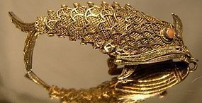 CHINESE ARTICULATED SILVER GILT FISH PIN 1930s