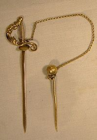 Victorian 10K SWORD TIE  PIN OR STICKPIN with Safety