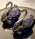 Pair SWANS STERLING & COBALT OPEN SALT DISHES c1930s