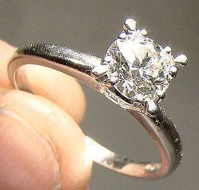 Art Deco Platinum Diamond Solitaire Ring 1920s 1930 90 Point Diamond