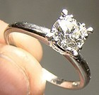 Art Deco Platinum Diamond Solitaire Ring 1920s 1930 90 Point Diamond