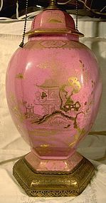 Scarce CROWN DEVON ENGLAND PINK CHINOISERIE LAMP 1920s