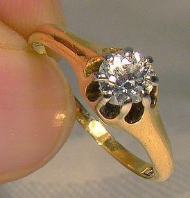 18K Diamond Solitaire Ring 1900 - Size 7-1/2