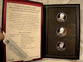 1999 CANADA RCM HOCKEY HOF STERLING MEDALS in CASE
