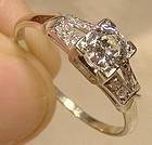 ART DECO 18K WHITE GOLD DIAMONDS Split Band RING 1930s Appraisal 18 K