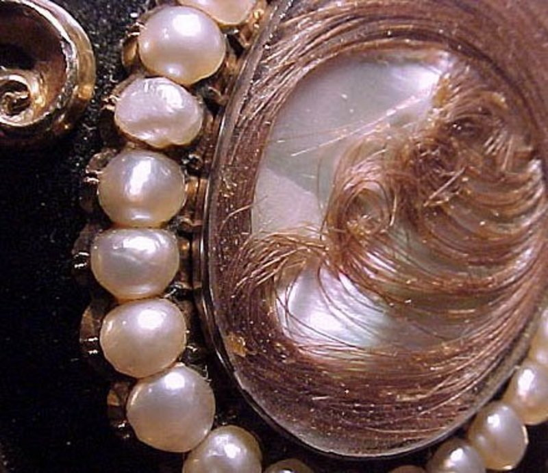 Large 15K ENAMEL & PEARLS HAIR BROOCH c1860