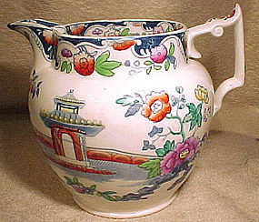 ENGLISH POLYCHROME BLUE & WHITE TRANSFER MILK JUG c1850
