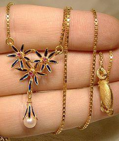 18K Rubies Pearl Blue Enamel Necklace & Brooch Set Uno a Erre 1960s