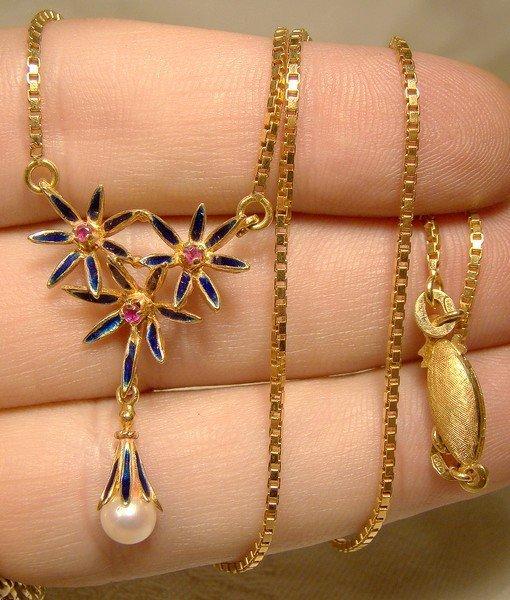 18K Rubies Pearl Blue Enamel Necklace Brooch Set Uno a Erre 1960s