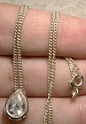 White Teardrop Cubic Zirconium CZ Sterling Silver Pendant on Chain