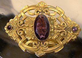 Art Nouveau Gilt Sash Pin 1900 - Amethyst Glass Stone