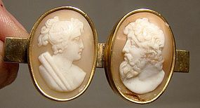 Victorian Twin Cameo Bar Pin - Man and Woman c1850