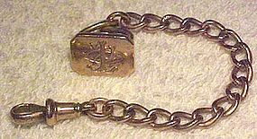 9K ROSE GOLD WATCH CHAIN & FOB w/ SEAL END 1897