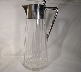 ARTS & CRAFTS 800 SILVER CUT GLASS CLARET JUG 1900 Gebr. Friedland