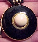 ART DECO NECKLACE w/ BLACK & CREAM CELLULOID c1930