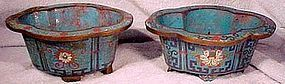 Pair Early CHINESE CLOISONNE ENAMEL PLANT POTS