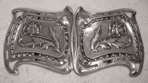Wm COMYNS STERLING ARTS & CRAFTS NURSE BELT BUCKLE 1901