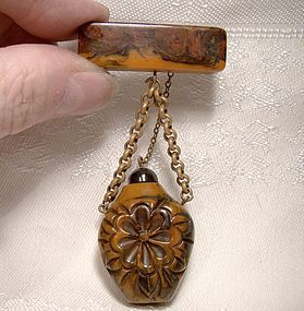 Marble Bakelite Carved Perfume Bottle Pin or Brooch c1930s