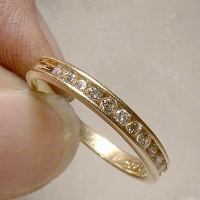 14K Half Hoop 1/2 Eternity Diamonds Wedding Band c1970s