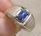 14K White Gold Mans Genuine Blue Star Sapphire Ring 1960s