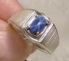14K White Gold Mans Genuine Blue Star Sapphire Ring 1960s