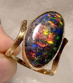14K Australian Black Opal Ring 1960s Intense Colour Genuine 7 Carats
