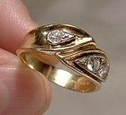 14-18K Yellow Gold Diamonds Ring - Great Style 1960s With Appraisal