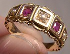 Victorian 15k RUBIES & PEARLS RING 1880s Antique Size 4-1/2