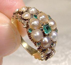Antique Georgian 15K Emeralds Pearls Ring 1820 1830