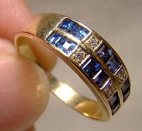 18K Sapphires & Diamonds Rows Ring 1980 18 K Custom Made Band