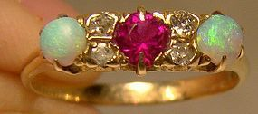 Antique 14K Opals Diamonds Synthetic Ruby Gold Ring 1900 14 K