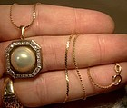 14k MABE PEARL Diamonds Octagon Pendant Necklace 1970s 14 K Chain