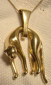 18K Yellow Gold Hanging Panther Cat Pendant Necklace 1980s 18 K Chain