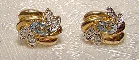 10K Blue Topaz and Diamonds Earrings 1970s 10 K White Yellow Gold