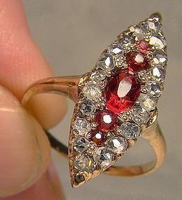 Antique 12K Gold Rhodolite Garnets Mine Cut Diamonds Ring 1890 1900