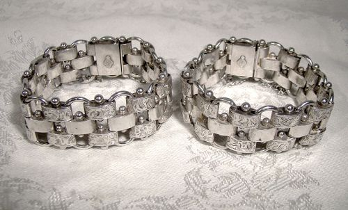 Victorian Aesthetic STERLING Silver Bracelets Matching Pair 1881