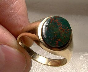 10K Gold Signet Ring Bloodstone 1960s Size 9-1/4 Men's March
