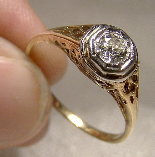 Art Deco 14K Solitaire Diamond Filigree Ring 1915 1920 14 K Size 6-3/4